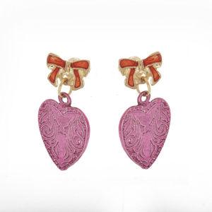 qvc Goldtone Hearts with Ribbons Seasonal Earrings